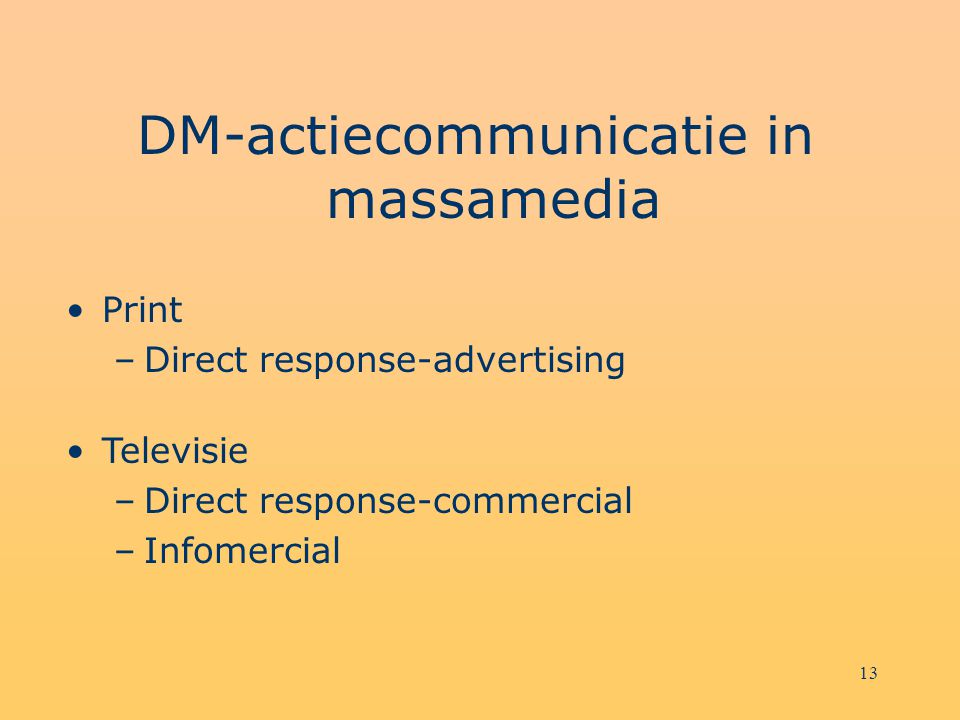DM-actiecommunicatie in massamedia