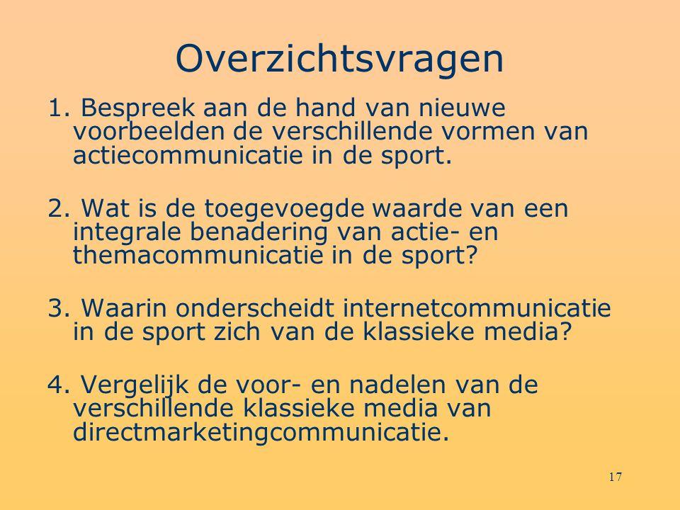 Overzichtsvragen 1. Bespreek aan de hand van nieuwe voorbeelden de verschillende vormen van actiecommunicatie in de sport.
