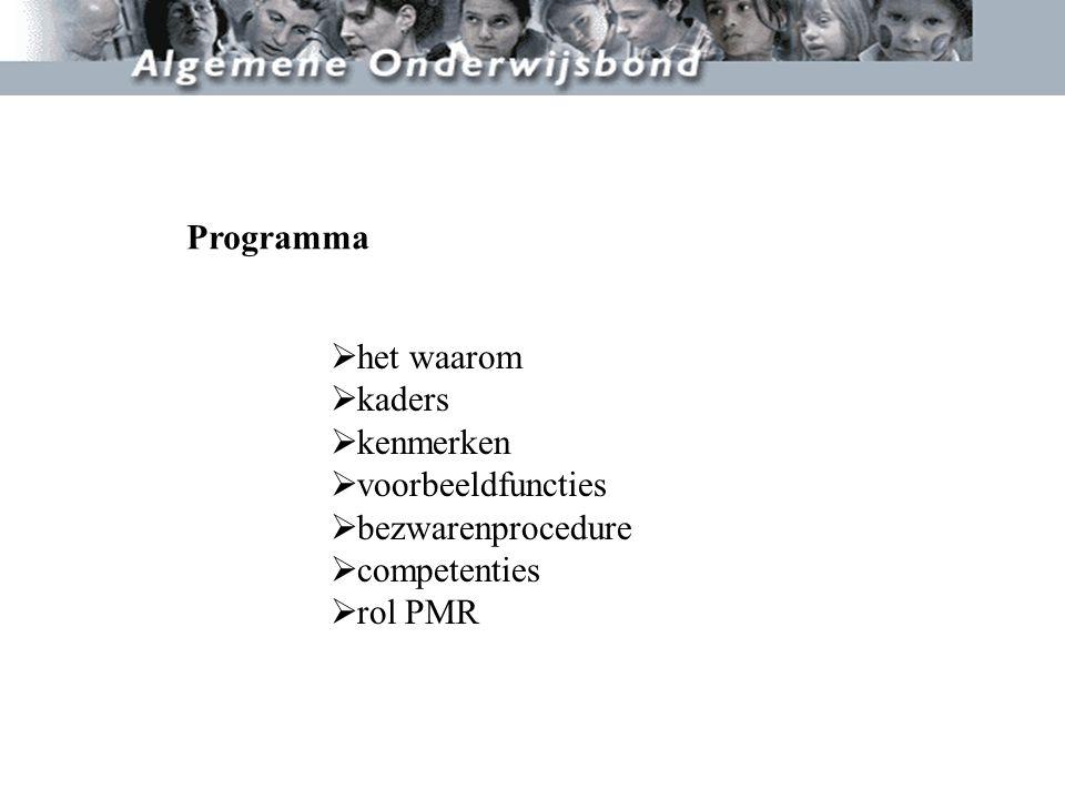 Programma het waarom kaders kenmerken voorbeeldfuncties bezwarenprocedure competenties rol PMR