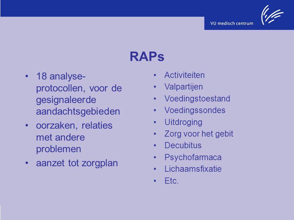 RAPs 18 analyse-protocollen, voor de gesignaleerde aandachtsgebieden