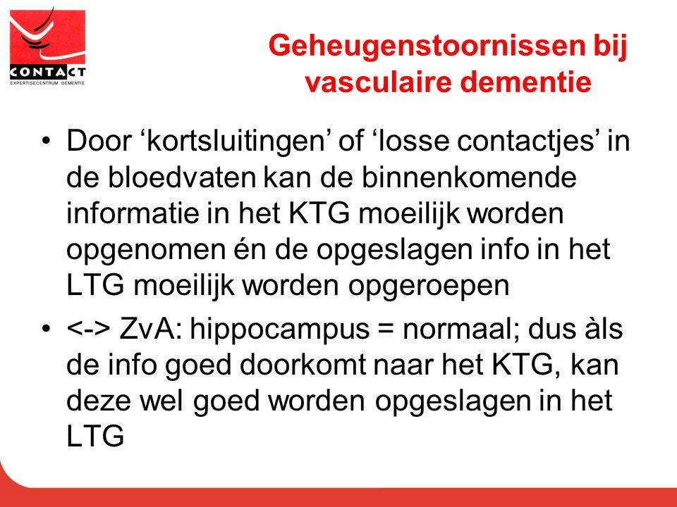 Geheugenstoornissen bij vasculaire dementie
