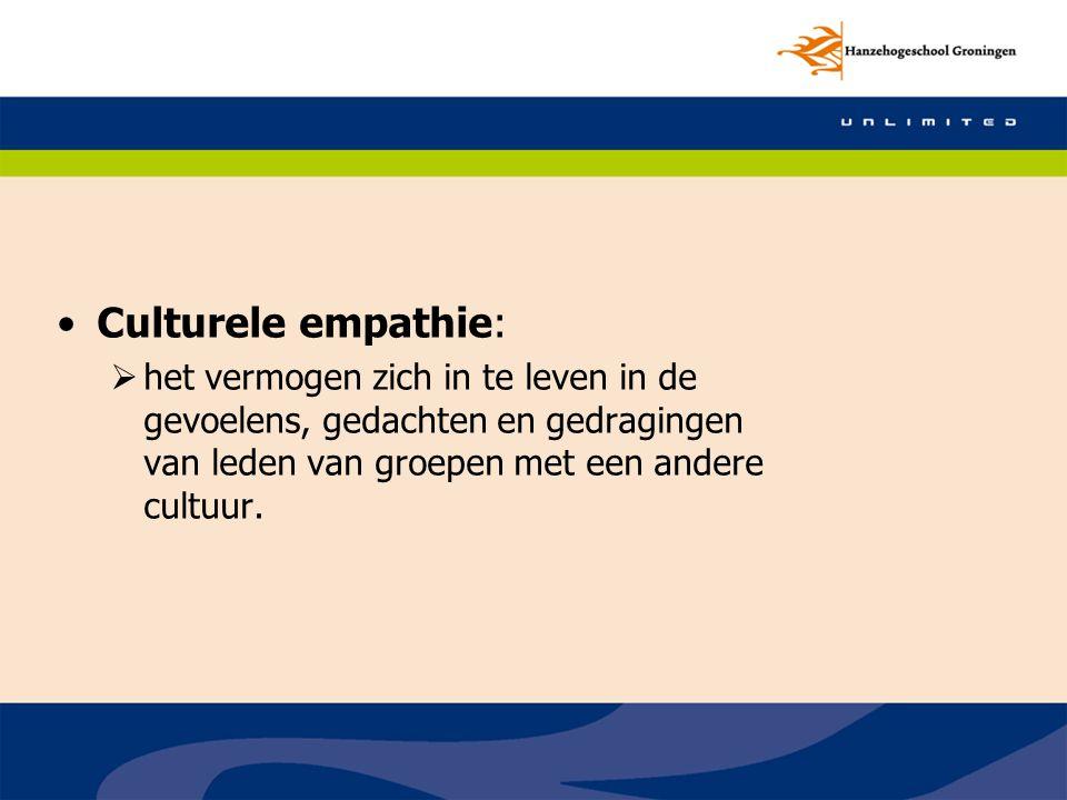 Culturele empathie: het vermogen zich in te leven in de gevoelens, gedachten en gedragingen van leden van groepen met een andere cultuur.