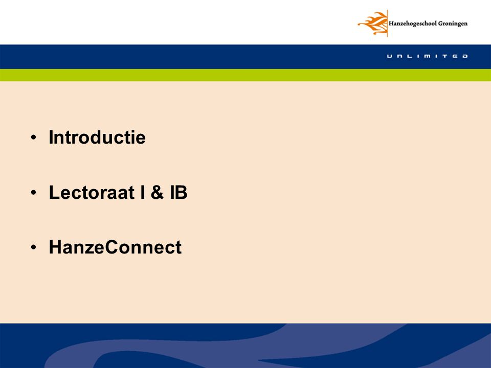 Introductie Lectoraat I & IB HanzeConnect