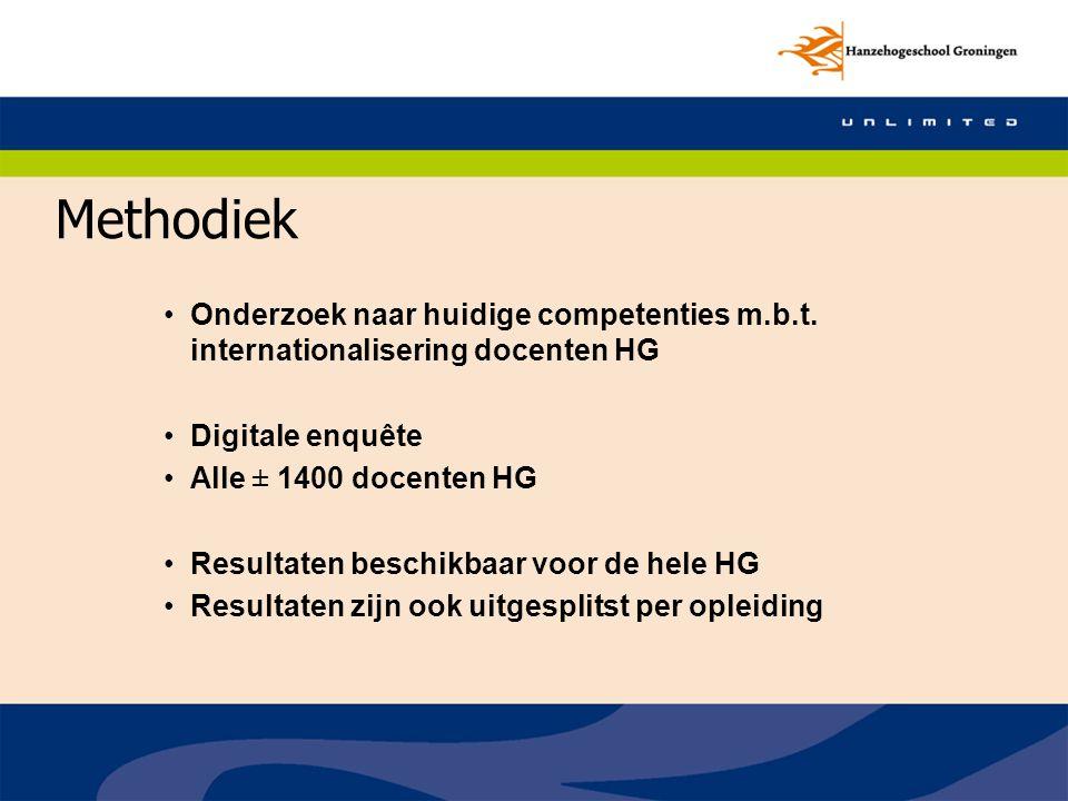 Methodiek Onderzoek naar huidige competenties m.b.t. internationalisering docenten HG. Digitale enquête.