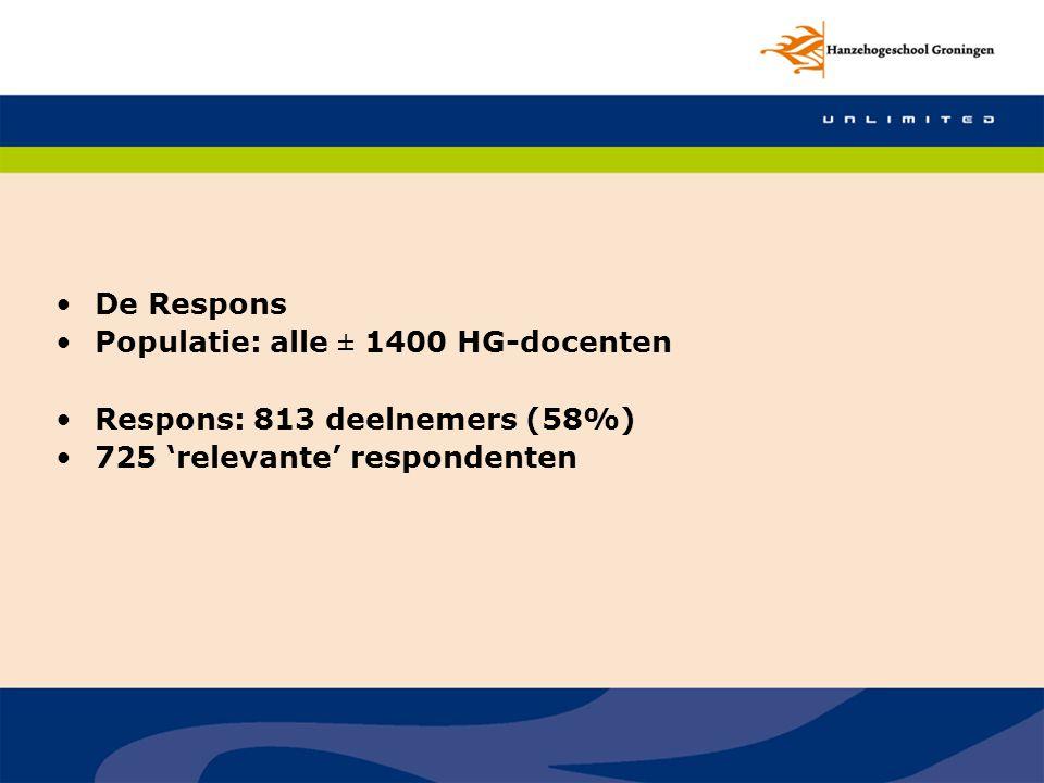 De Respons Populatie: alle ± 1400 HG-docenten.