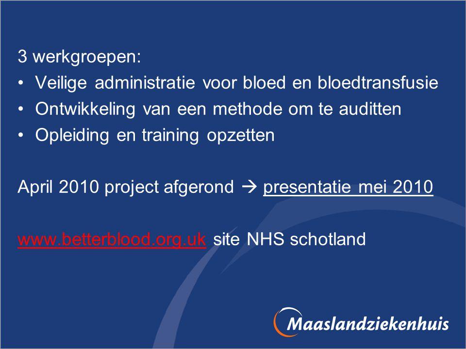 3 werkgroepen: Veilige administratie voor bloed en bloedtransfusie. Ontwikkeling van een methode om te auditten.
