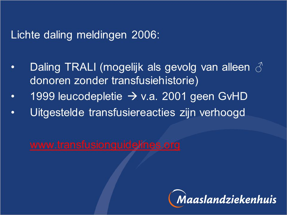 Lichte daling meldingen 2006: