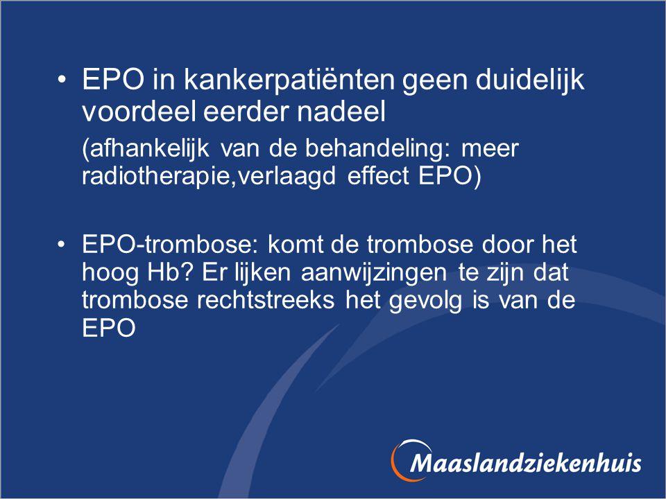 EPO in kankerpatiënten geen duidelijk voordeel eerder nadeel