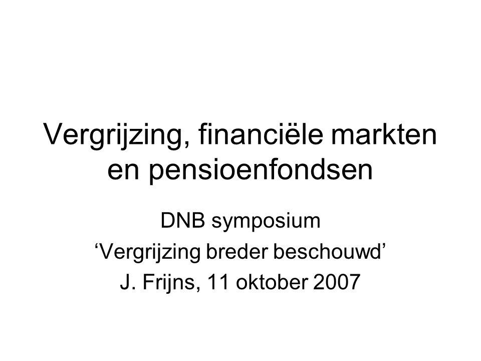 Vergrijzing, financiële markten en pensioenfondsen