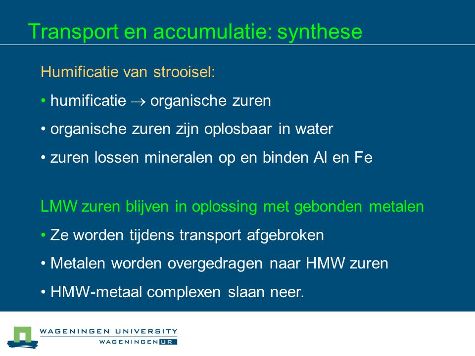 Transport en accumulatie: synthese