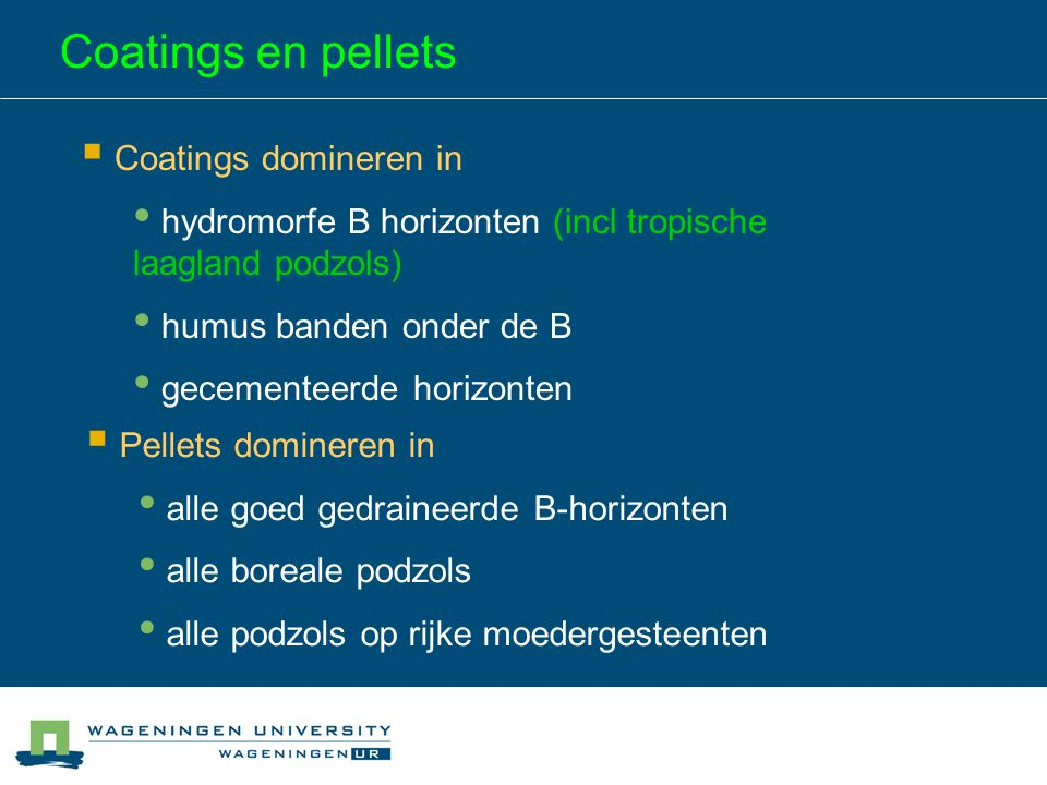 Coatings en pellets Coatings domineren in