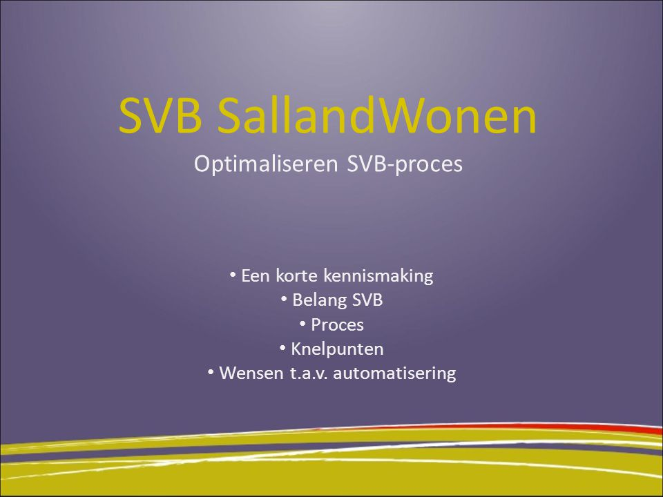 SVB SallandWonen Optimaliseren SVB-proces