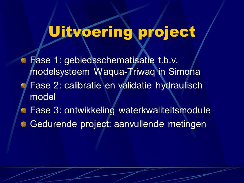 Uitvoering project Fase 1: gebiedsschematisatie t.b.v. modelsysteem Waqua-Triwaq in Simona. Fase 2: calibratie en validatie hydraulisch model.