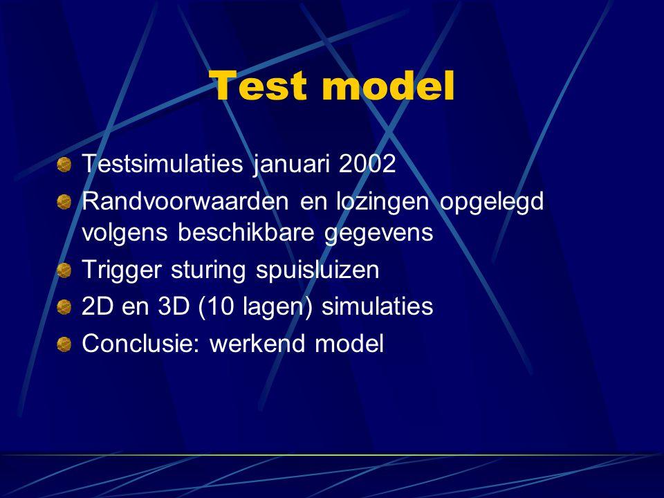 Test model Testsimulaties januari 2002