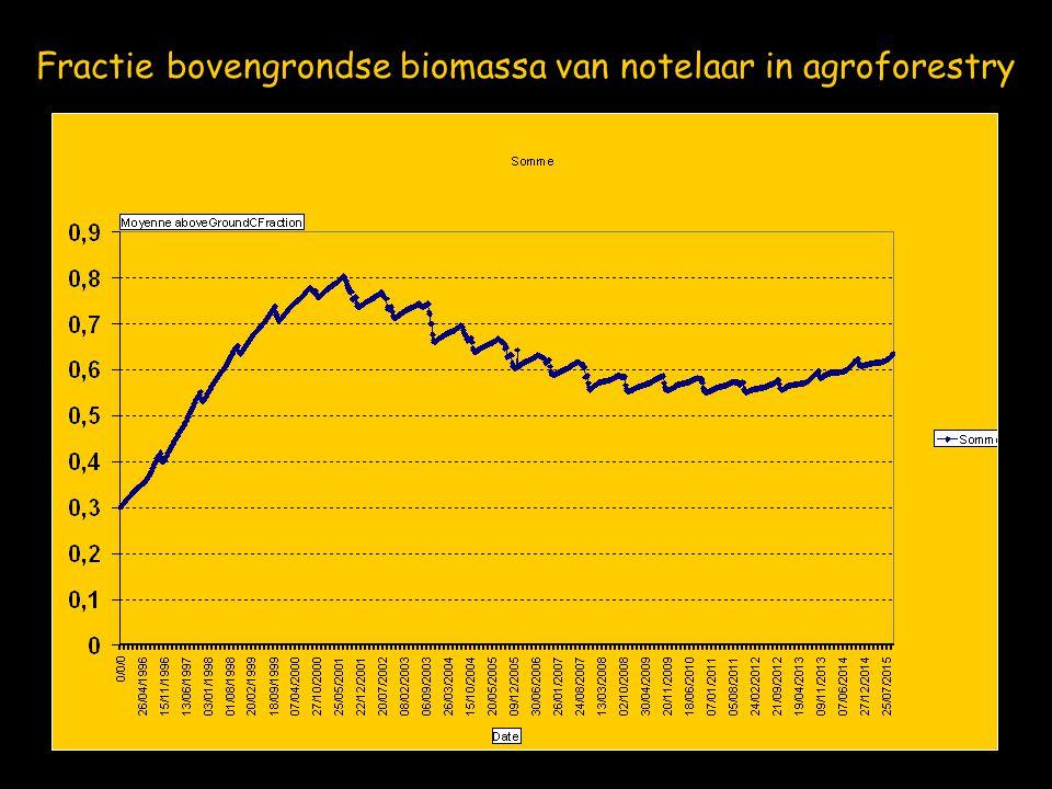 Fractie bovengrondse biomassa van notelaar in agroforestry