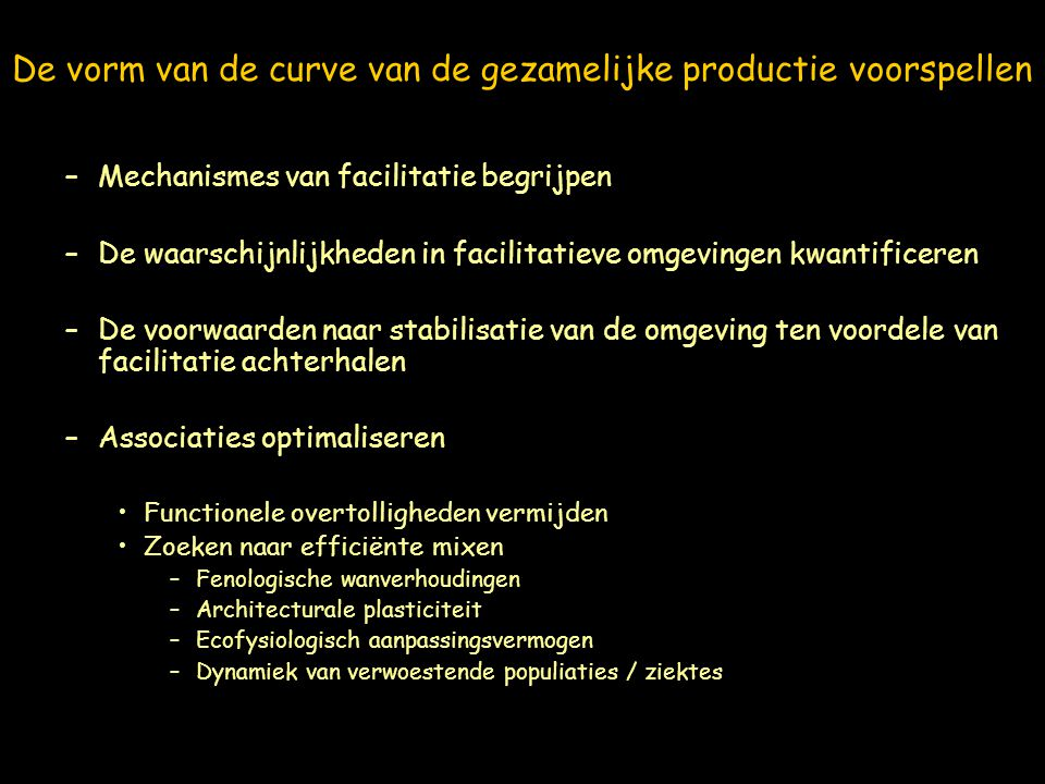De vorm van de curve van de gezamelijke productie voorspellen