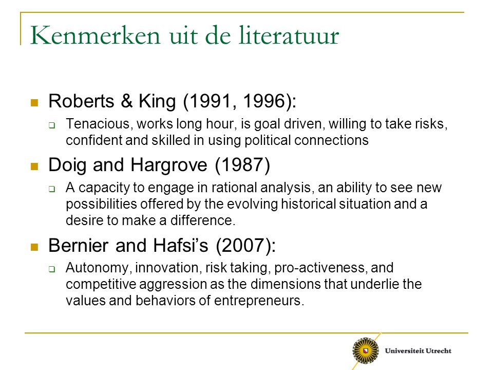 Kenmerken uit de literatuur