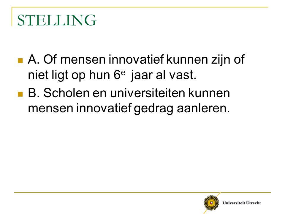 STELLING A. Of mensen innovatief kunnen zijn of niet ligt op hun 6e jaar al vast.