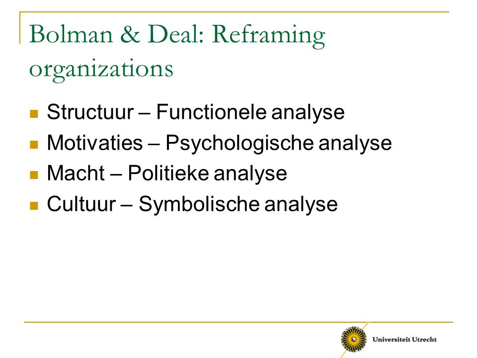 Bolman & Deal: Reframing organizations