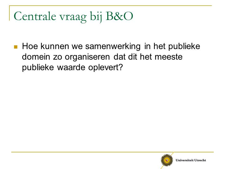 Centrale vraag bij B&O Hoe kunnen we samenwerking in het publieke domein zo organiseren dat dit het meeste publieke waarde oplevert