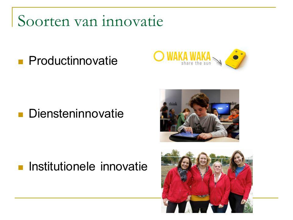 Soorten van innovatie Productinnovatie Diensteninnovatie