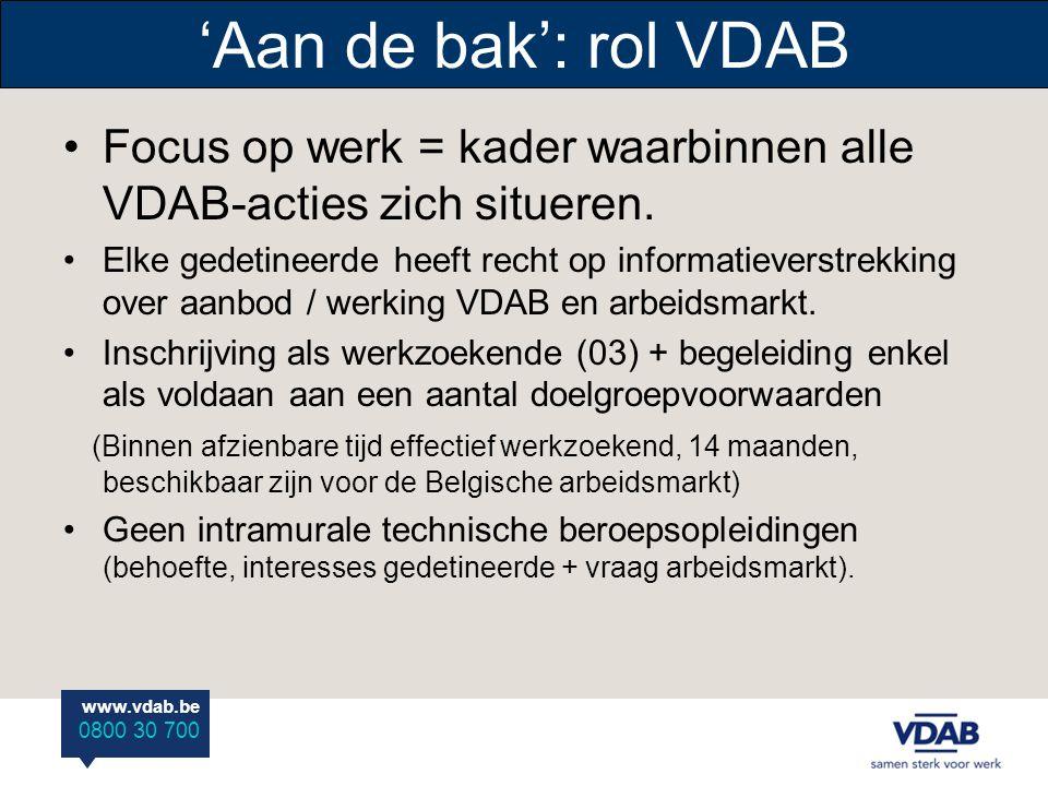 'Aan de bak': rol VDAB Focus op werk = kader waarbinnen alle VDAB-acties zich situeren.