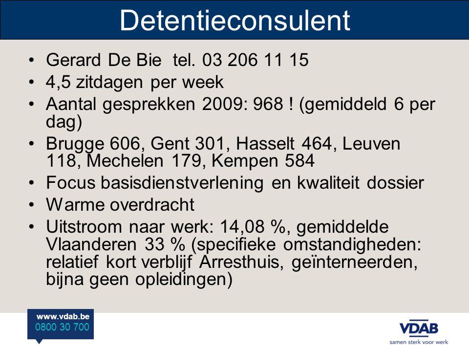 Detentieconsulent Gerard De Bie tel. 03 206 11 15