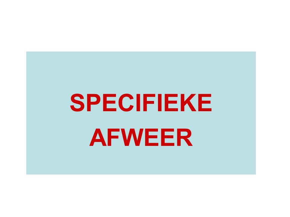 SPECIFIEKE AFWEER