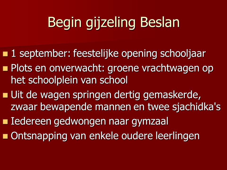 Begin gijzeling Beslan