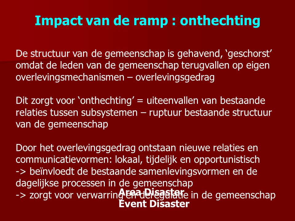 Impact van de ramp : onthechting