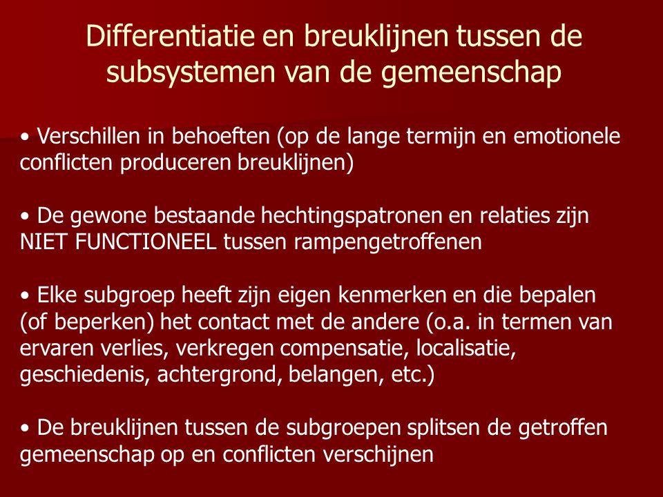 Differentiatie en breuklijnen tussen de subsystemen van de gemeenschap