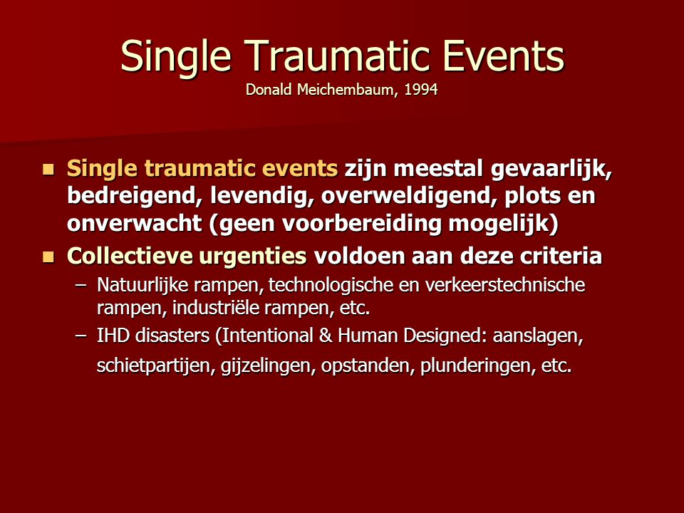 Single Traumatic Events Donald Meichembaum, 1994
