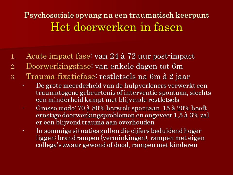 Acute impact fase: van 24 à 72 uur post-impact
