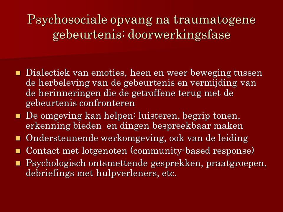 Psychosociale opvang na traumatogene gebeurtenis: doorwerkingsfase