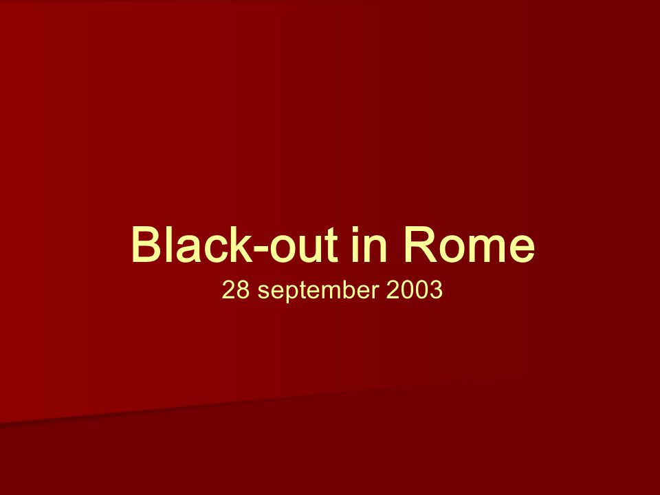 Black-out in Rome 28 september 2003