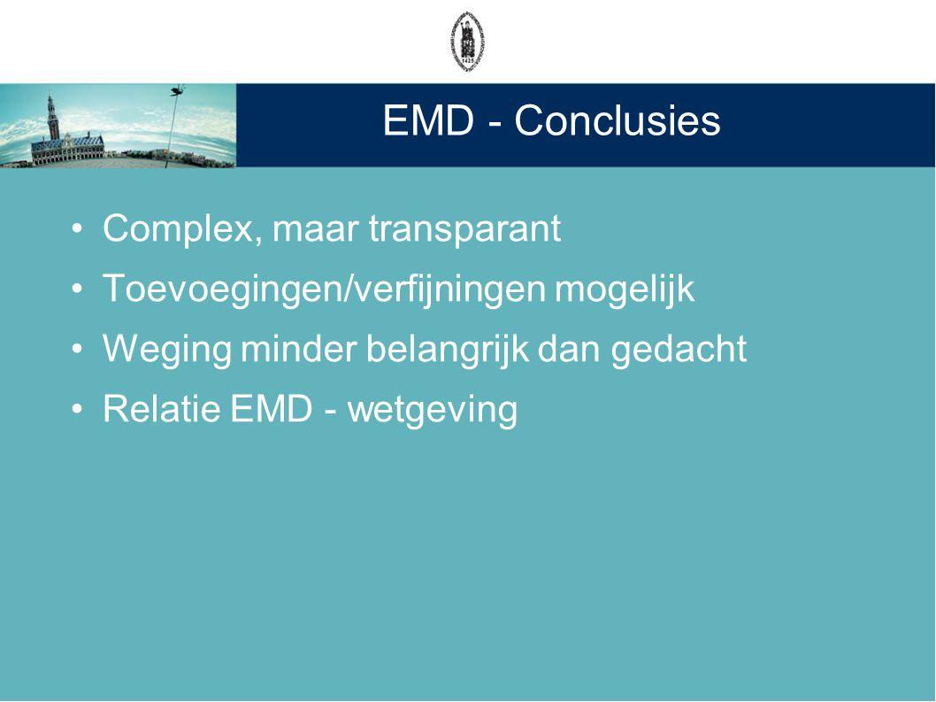 EMD - Conclusies Complex, maar transparant