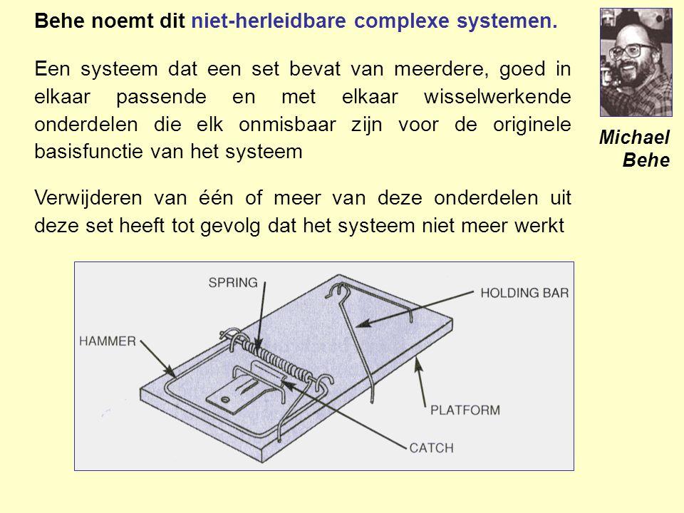 Behe noemt dit niet-herleidbare complexe systemen.