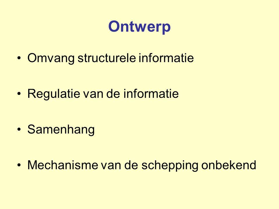 Ontwerp Omvang structurele informatie Regulatie van de informatie