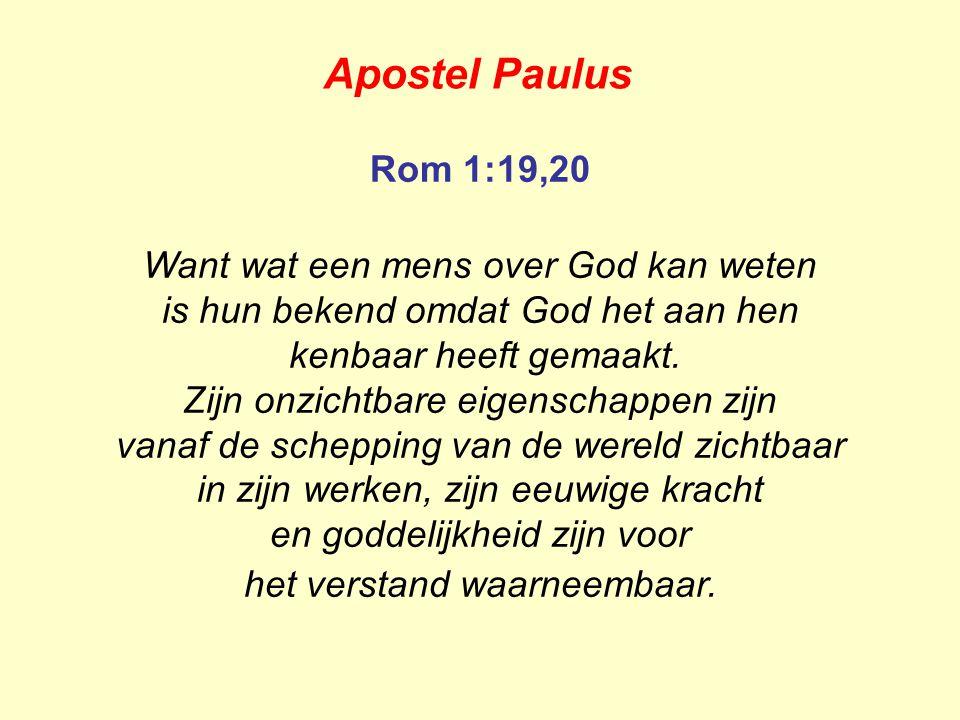 Apostel Paulus Rom 1:19,20 Want wat een mens over God kan weten