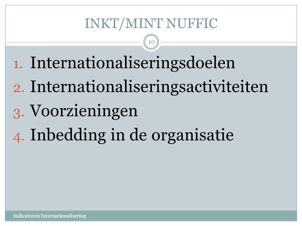 Internationaliseringsdoelen Internationaliseringsactiviteiten