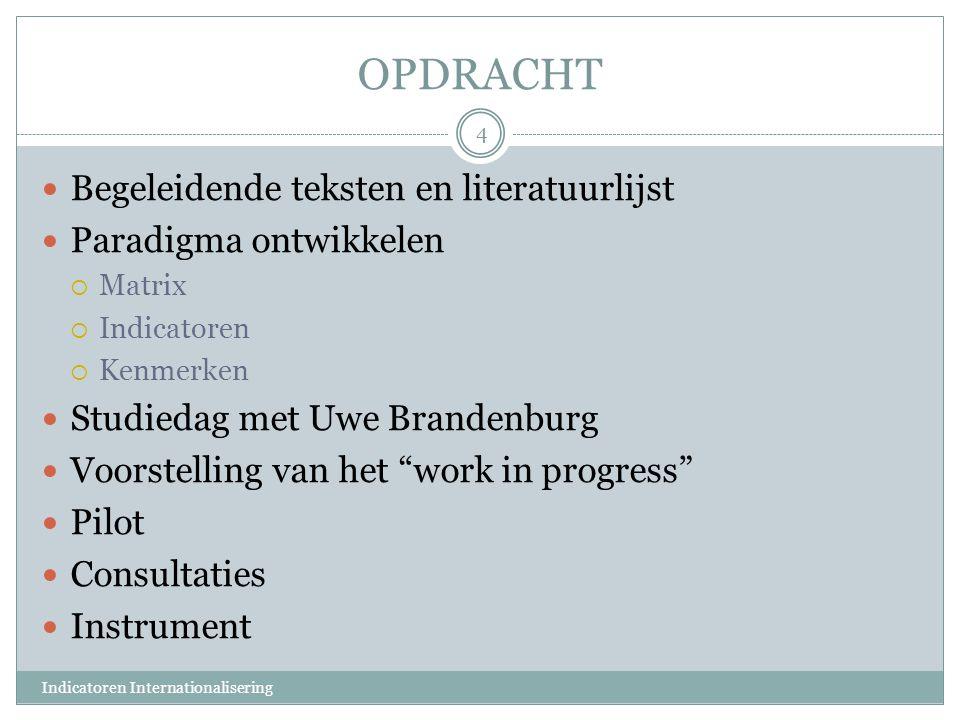 OPDRACHT Begeleidende teksten en literatuurlijst Paradigma ontwikkelen