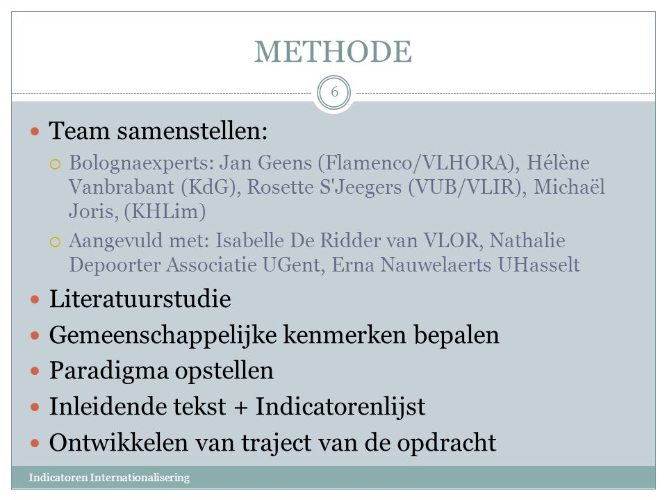 METHODE Team samenstellen: Literatuurstudie