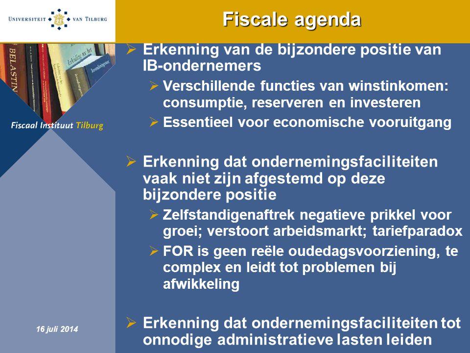 Fiscale agenda Erkenning van de bijzondere positie van IB-ondernemers