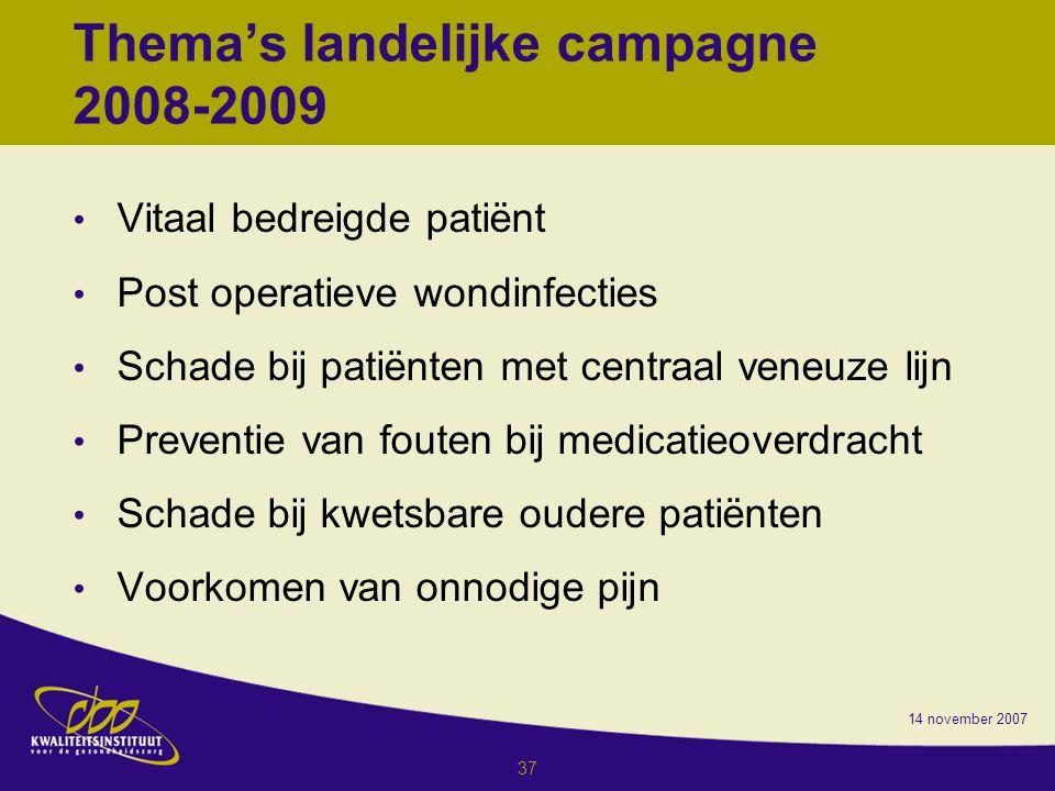 Thema's landelijke campagne 2008-2009