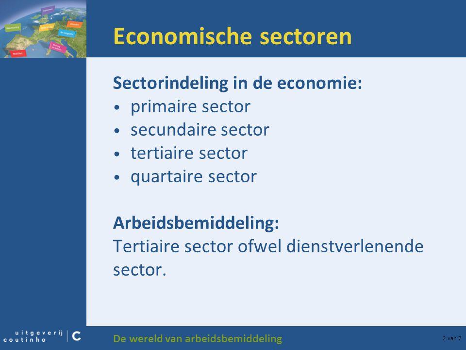 Economische sectoren Sectorindeling in de economie: primaire sector