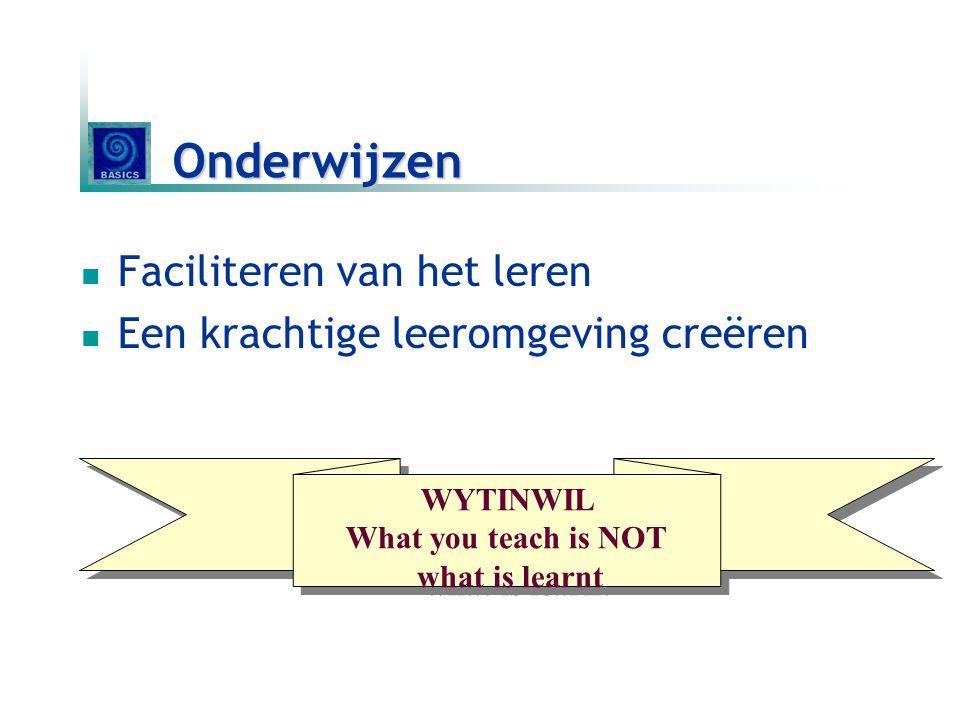 Onderwijzen Faciliteren van het leren