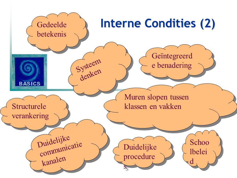 Interne Condities (2) Gedeelde betekenis Geïntegreerde benadering