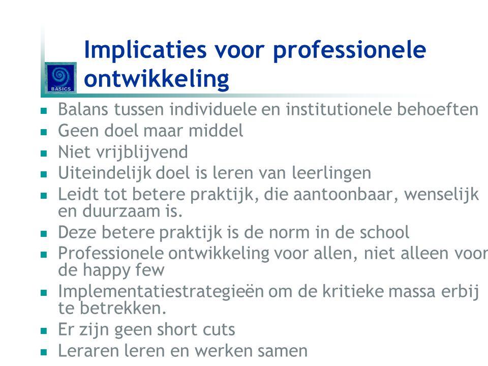 Implicaties voor professionele ontwikkeling