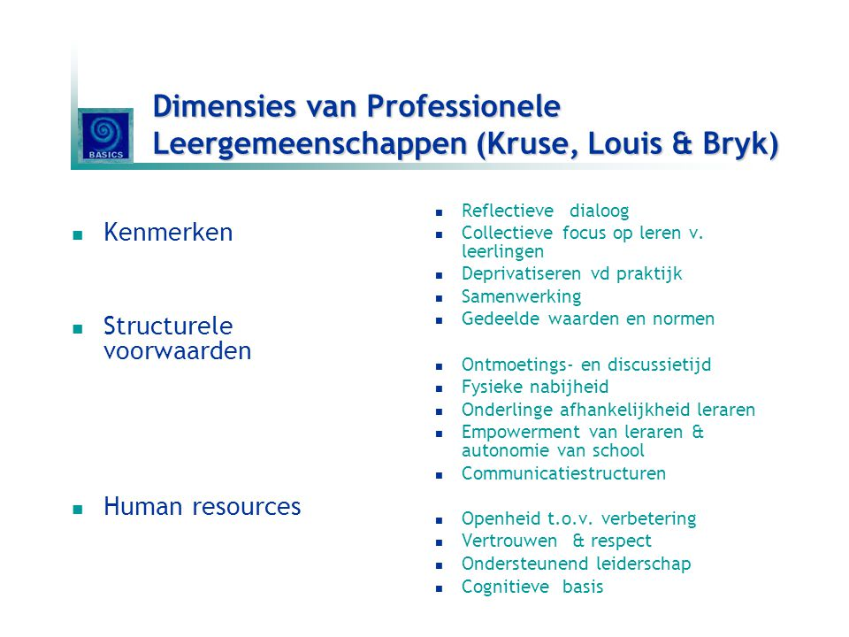 Dimensies van Professionele Leergemeenschappen (Kruse, Louis & Bryk)