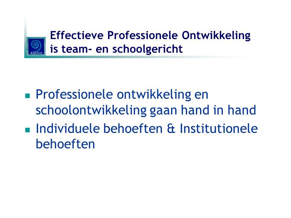 Effectieve Professionele Ontwikkeling is team- en schoolgericht